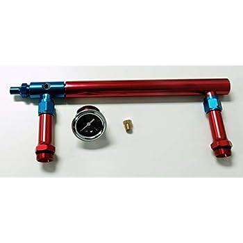 Billet Aluminum Holley 4150 Double Pumper Fuel Line Log Red Blue Anodized SBC