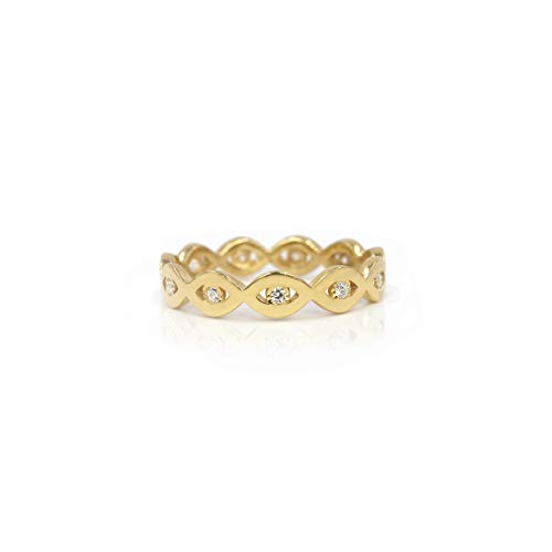 Evil Eye Eternity Real Gold 14k Gold Band with Genuine Diamonds