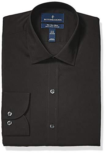 - BUTTONED DOWN Men's Slim Fit Tech Stretch CoolMax Easy Care Dress Shirt, Black Caviar, 17.5