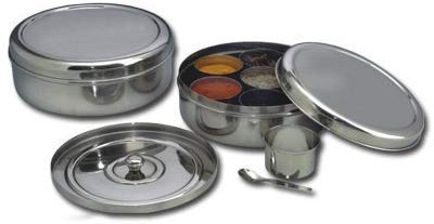 Spice Container - Masala Dabba - 7 Compartments, masala box,steel masala dabba,Spice container box,stainless steel spice box indian masala dabba with 7 spice containers,Stainless Steel Masala Dabba by Tanish Trading (Image #3)