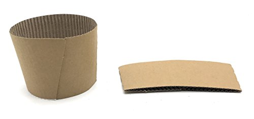 Corrugated Cup ([1000 COUNT] Disposable Corrugated Hot Cup Sleeves Java Jackets - Natural compostable kraft color cup sleeve protective heat insulation paper plastic cups hot coffee tea chocolate drinks insulated)