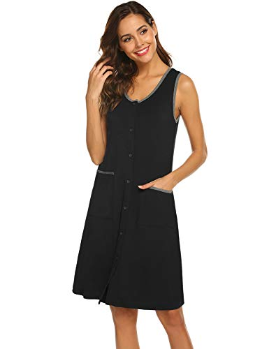 - Ekouaer Nightdress Women's Sleeveless Sleepwear Classic Scoop Neck Nightgown Robe (Black,L)