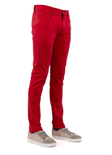 Perruzo Men's 714 Skinny Jeans (28x30, Red) (Red Skinny Jeans For Men compare prices)