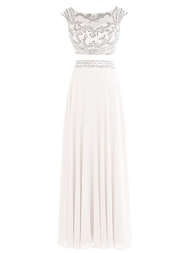 Tideclothes Long Two Pieces Prom Dress Chiffon Beaded Evening Dress Ivory US26Plus (Big Poofy Dresses)