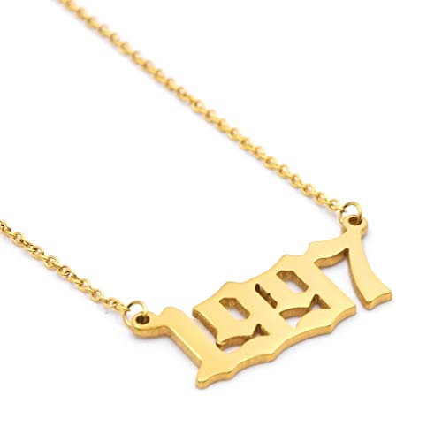 Birth Year Necklace Personalized Gold Women Girls Year Number Pendant Birthday Gift Charm Friendship Jewelry Gold Necklace 1997