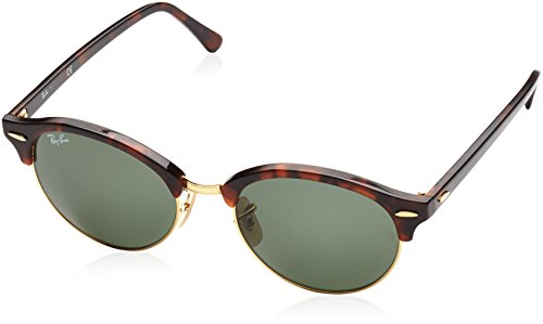 Ray-Ban Unisex Clubround Classic RB4246 990 Non-Polarized Sunglasses, Tortoise/Green Classic, 51 - Ban Ray Tortoise