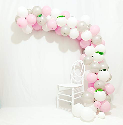 Balloon Arch & Garland Kit | Pink Silver White Balloons 90 pcs 12 Inch & 5 Inch Silver Balloons Pastel Pink Balloons White Balloons Gray Balloons for Party,Wedding,Birthday,Girls Baby -