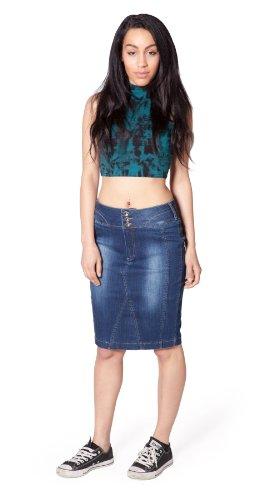 Falda por la Rodilla - Stonewash mujers denim falda de mezclilla jean SKIRT85