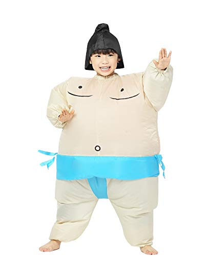 Inflatable Kid Sumo Wrestler Suits Wrestling Fancy Dress Halloween Costume One Size Fits Most (Blue -