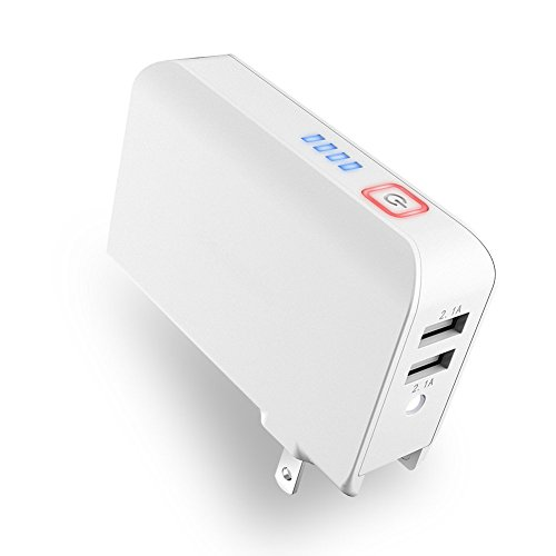 Power Bank, Wall Charger, POWRUI 2-in-1 Portable Charger 5000 mAh Capacity External Charger With Foldable AC Plug Dual iSmart USB Ports, 2.1A Max Output for Smartphones, Tablets, and more- (white)
