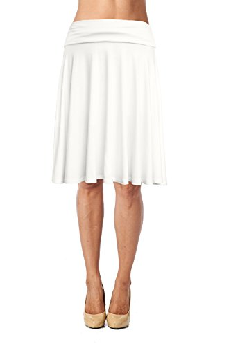 (Womens Fold Waist Soft Stretchy Mid Knee Length Flare Flowy Skirt Made in)