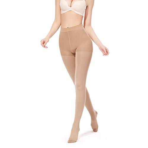 SWOLF Compression Pantyhose Women Men, Closed Toe 20-30 mmHg Graduated Firm Support Compression Stockings Hose - Waist High Edema Moderate Varicose Veins Medical Compression Tights (Beige, X-Large) (Opaque Firm Support Closed Toe)