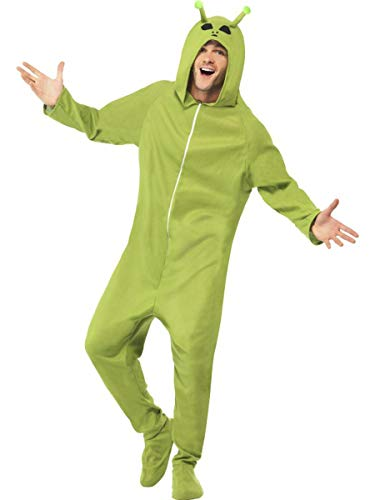 (1 PC Unisex Alien Extraterrestrial UFO Green Hooded Onesie Jumpsuit)