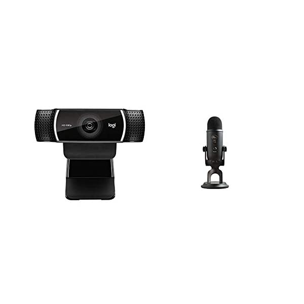 Logitech C922x Pro Stream Webcam Blue Yeti USB Mic for Recording Streaming on PC and Mac 3 Condenser Capsules 4 Pickup Patterns