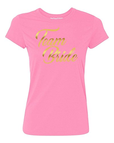 Bride Womens Pink T-shirt - Promotion & Beyond Team Bride (Gold) Wedding Women's T-Shirt, S, Azalea Pink