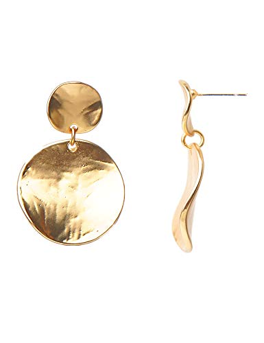 Lantitude 12 Styles Dangle Earrings Vintage Hammered Bohemian Drop Earrings 18k Gold Plated Party Ball Bling Shining Gift Earrings for Women Girls