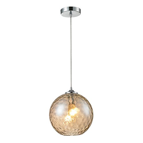Watersphere 1 Light Pendant (Elk 31380/1CMP HGTV Home Watersphere 1-Light Pendant with Champagne Glass Shade, 10 by 11-Inch, Polished Chrome Finish)