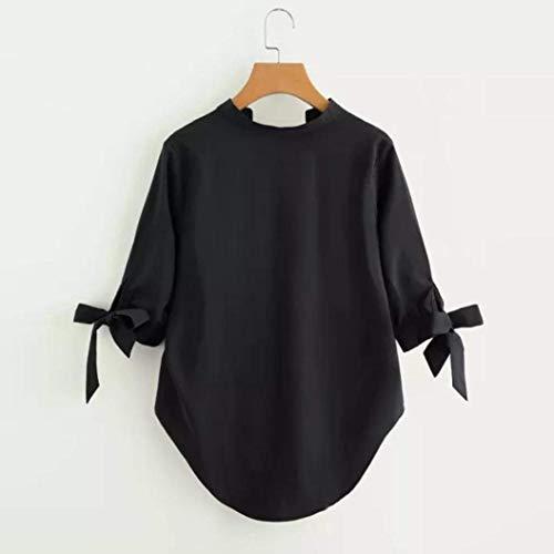 Col Cn Et Jaune 10 Noir Manches V À Longues Muk Taille Zhrui couleur Blouse T En shirt qUHXOX