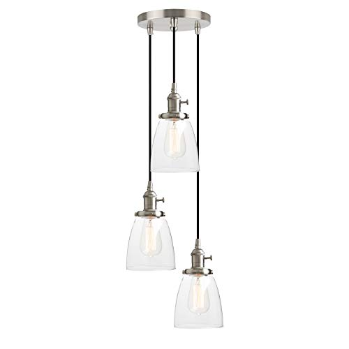 Vanity Bathroom Hanging (Pathson 3 Lights Pendant Lighting, Bathroom Vanity Light Fixtures with Clear Glass Shade, Hanging Lamps for Kitchen Island (Brushed Steel))