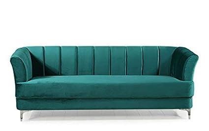 Amazon.com: Elegant Classic Living Room Velvet Sofa - Colors Blue ...