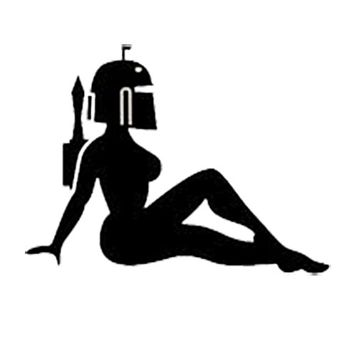 [Female Bobba Fett Sexy Decal Vinyl Sticker|Cars Trucks Vans Walls Laptop| BLACK |5.5 x 4 in|CCI605] (Sexy Cosplay Ideas)