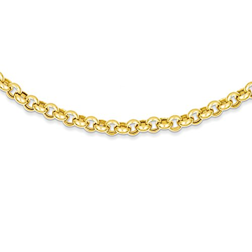 Roy Rose Jewelry 14K Yellow Gold 16.25mm Polished Fancy Rolo Link Necklace ~ Length 18'' (Yellow Gold 18' Rolo)