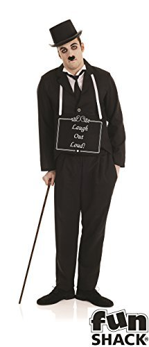 [Large Mens Silent Film Star Costume for 20s Hollywood Cosplay Fancy Dress by Partypackage Ltd] (Hollywood Fancy Dress)