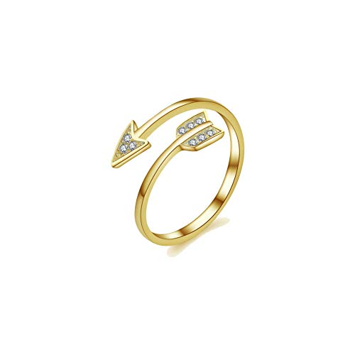 (METTU Silver and Rose Gold Open Adjustable Love Arrow Ring for Girls (Gold-1))