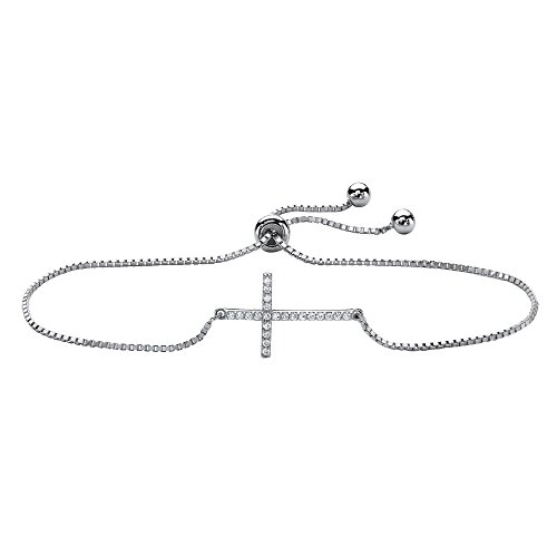 "Sterling Silver Horizontal Cross Strand Bracelet (13mm), Round Cubic Zirconia, 10"" Adjustable"