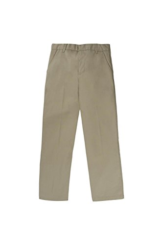 French Toast Big Boys' Flat Front Double Knee Pant with Adjacent Waist, Khaki, 10 ()