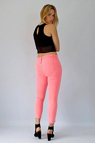 Lunghezza A Jeans Con Color Ritagliata Corta Da Gamba Alta Aderenti Stretta Vita Rosa Donna Pastello tU87qUwA