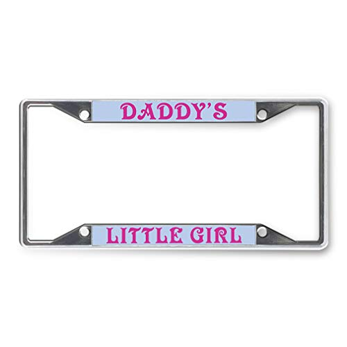 Sign Destination Metal License Plate Frame Daddy's Little Girl Car Auto Tag Holder Chrome 4 Holes Set of 2
