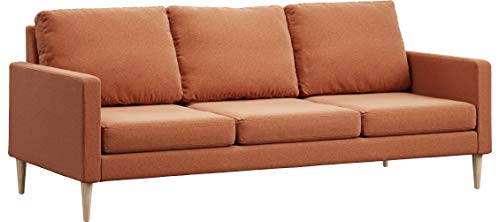 Campaign 86-Inch Steel Frame Brushed Weave Sofa, Mojave Orange with Solid Natural Maple Legs ()
