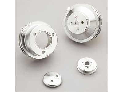 March Performance 1565 High Water Flow Series Clear Powdercoat Aluminum V-Belt Pulley Kit - Set of 3