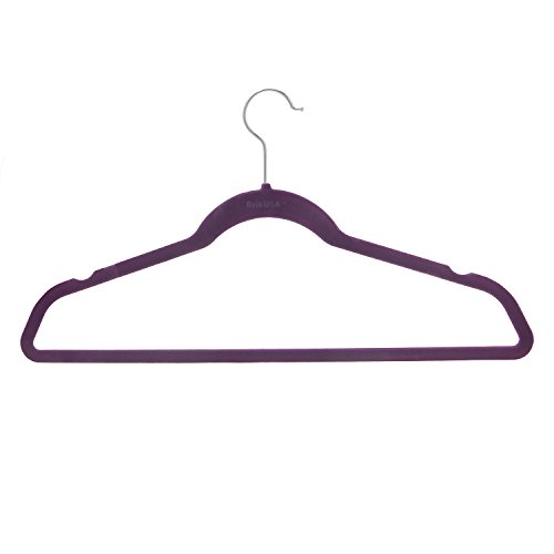 BriaUSA Velvet Suit Hangers Multipurpose Slim with Notched Shoulders & Swivel Chrome Hooks – Purple – Set of 10