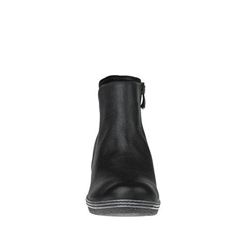 aus Schwarz mit Damen Lederfußbett Warmfutter Echtleder tessamino Stiefelette HTEnqI0