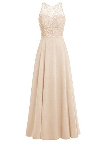 Lang Kleider Damen Promi Champagner Carnivalprom Elegant Rückenfrei Chiffon Abendkleider HZWqA0