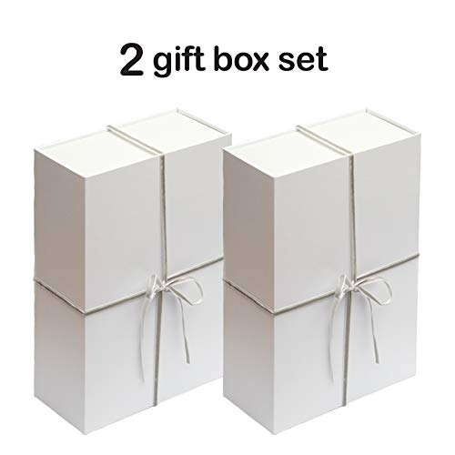 Collapsible Gift Box Set with Magnetic Closure (12x8x4, White/Grey)
