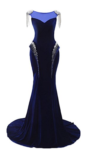 Maricopyjam Women's Symmetrical Long Trumpet Mermaid Velvet Evening Dress with Beaded Tassel