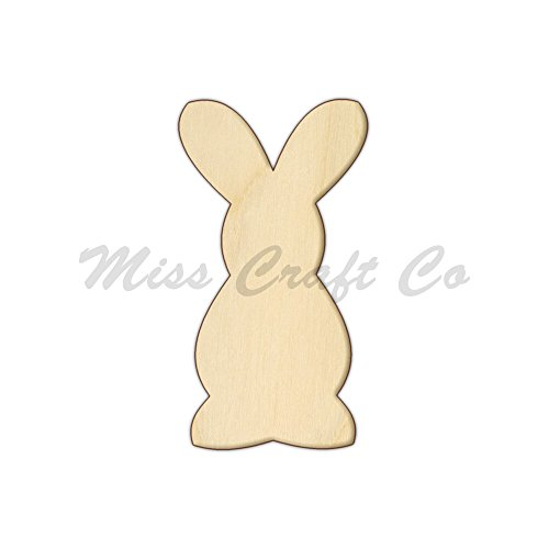 Bunny Wood Shape Cutout, Wood Craft Shape, Unfinished Wood, DIY Project. All Sizes Available, Small to Big. Made in the USA. 10 X 5.3 INCHES