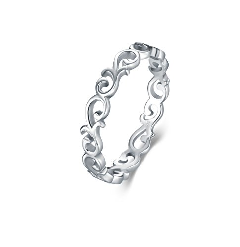 BORUO 925 Sterling Silver Ring Celtic Knot Heart High Polish Tarnish...