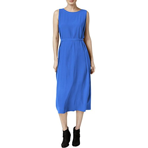 Eileen Fisher Womens Petites Silk Tie Front Casual Dress Blue - Womens Eileen Silk Fisher