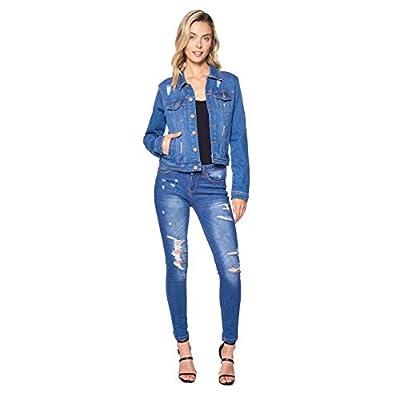 Blue Age Womens Denim Jean Jacket and Sleeveless Vest: Clothing