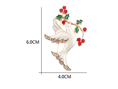 Yunqir Exquisite Christmas Peace Dove Rhinestones Brooch Decorative Scarves Pin for Women Gift (White) (Color : White, Size : 6x4cm)
