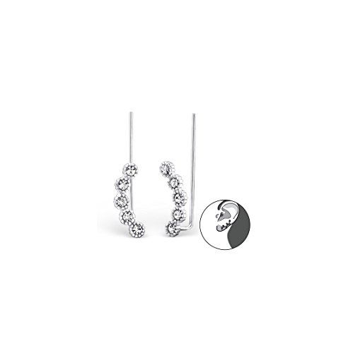 Price comparison product image 925 Sterling Silver Round Ear Cuffs, Ear Pins Crystal