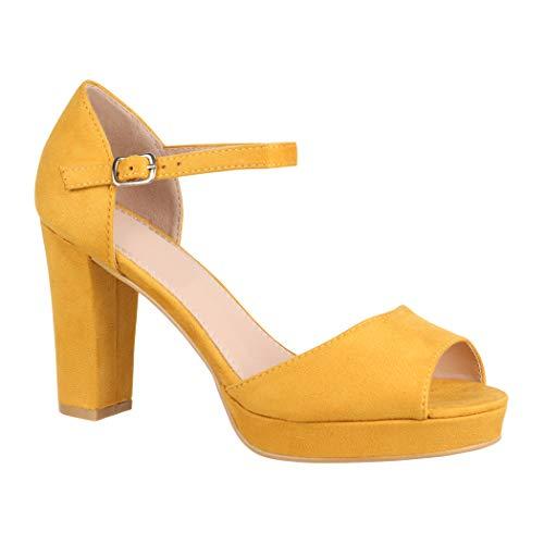 Amarillo De Mujer Sintético Elara Tira Tobillo qn8581pX