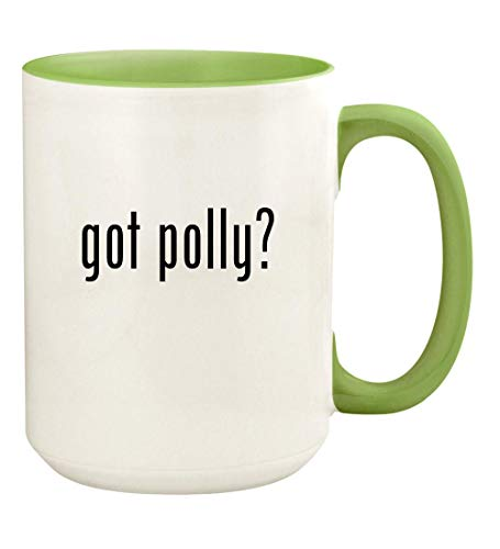 (got polly? - 15oz Ceramic Colored Handle and Inside Coffee Mug Cup, Light Green)