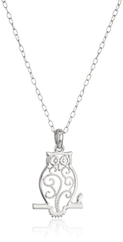 Sterling Silver Filigree Owl Pendant Necklace, 18