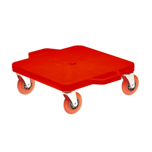 Cosom 16 Inch Premium Plastic Scooter Board With 4 Inch Non-Marring Performance Wheels and Double Race Bearings for Children, Physical Education Class, With Safety Handles, Red