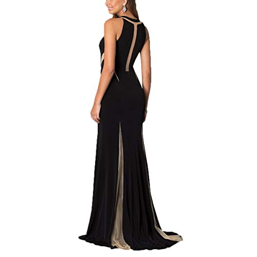 frapp Maille Patchwork Robe Femmes Sexy Couleur vider Plancher de Black de Longueur Perspective Mtydudxe tFq6xx